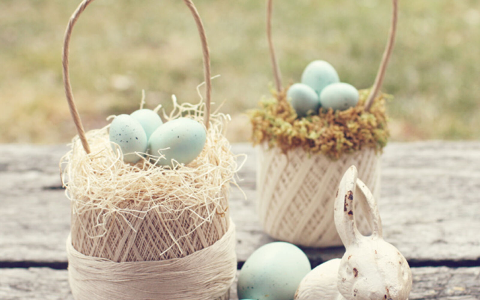 s the cutest ways to decorate your front porch for easter, Spring Thread Ball Egg Basket