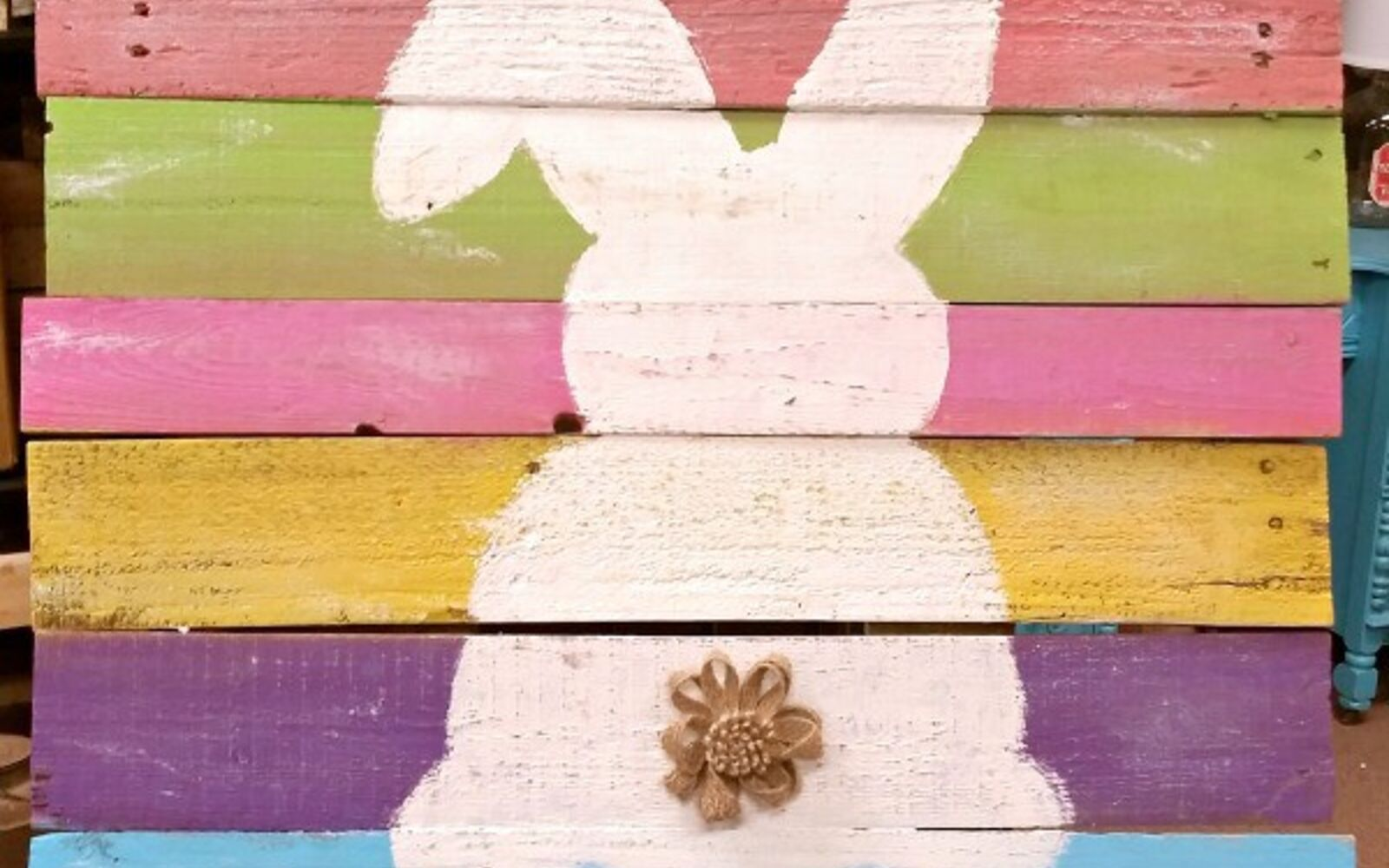 s the cutest ways to decorate your front porch for easter, Easter Bunny Reclaimed Wood Sign
