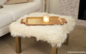 DIY Furry Ottoman - IKEA Hack With LACK Table for a Small Living Room