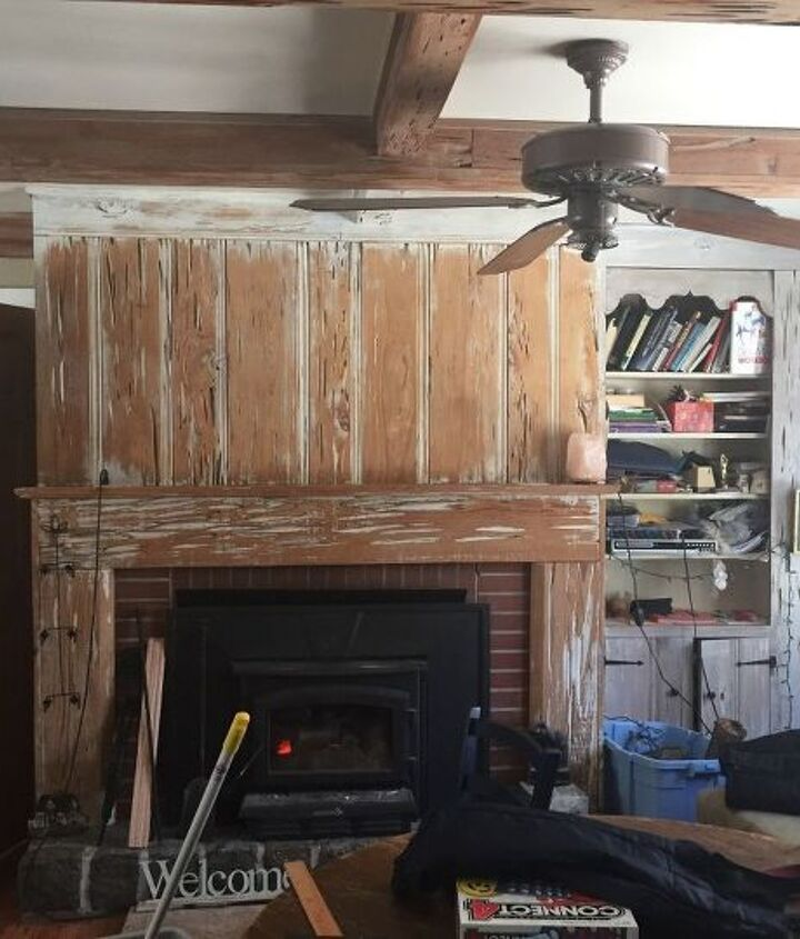 q how can i update my 60 s pecky cypress fireplace and beams