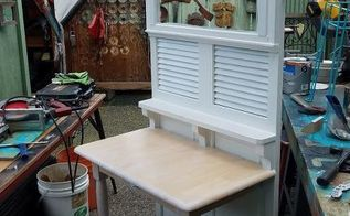 louvered door hall tree repurpose