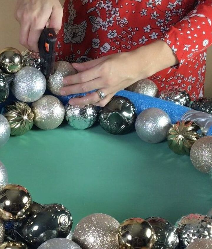 s 10 creative ways to transform pool noodles into something new, Glue On Ornaments To Make A Wreath