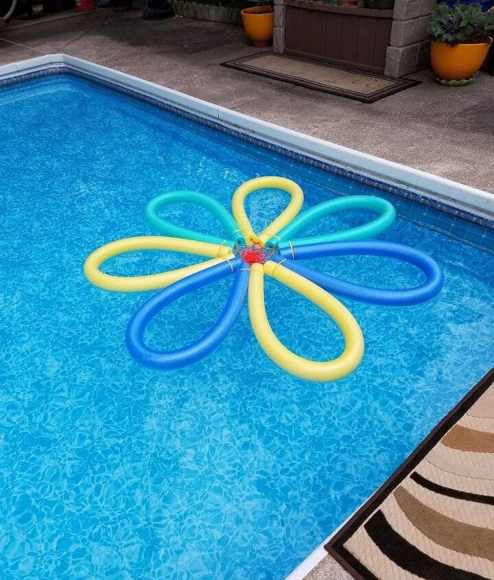 s 10 creative ways to transform pool noodles into something new, Turn Them Into A Flower Float