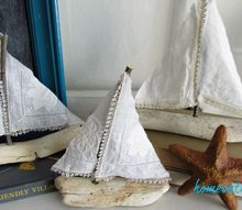 diy driftwood sailboat with vintage hankies