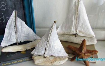 DIY Driftwood Sailboat With Vintage Hankies