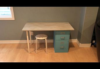 up cycling a filing cabinet to a desk