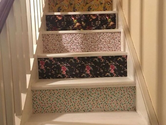 budget staircase renovation using giftwrap