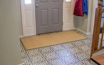 painting hardwood floors to look like moroccan tile, Mosaic stencil tile in the entryway