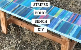 beach boho striped painted bench beachy coastal style, beach boho striped painted bench diy