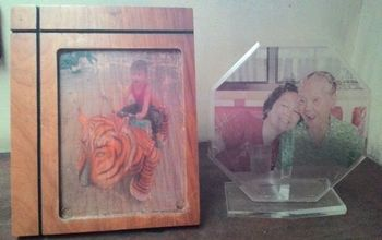 photo transfer on wood and acrylic repurposing plaques