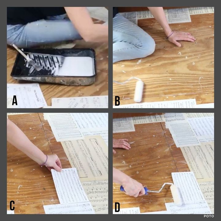 paper bag sheet music floor