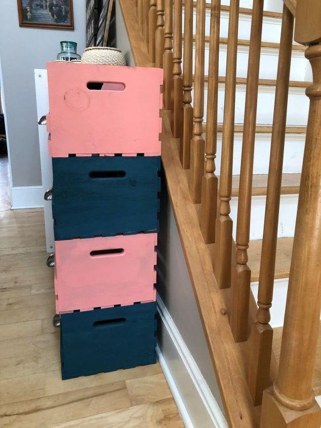 teal and coral wooden crate storage cubbies