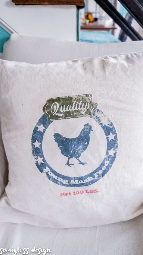 make a farmhouse pillow using photo transfer medium on fabric