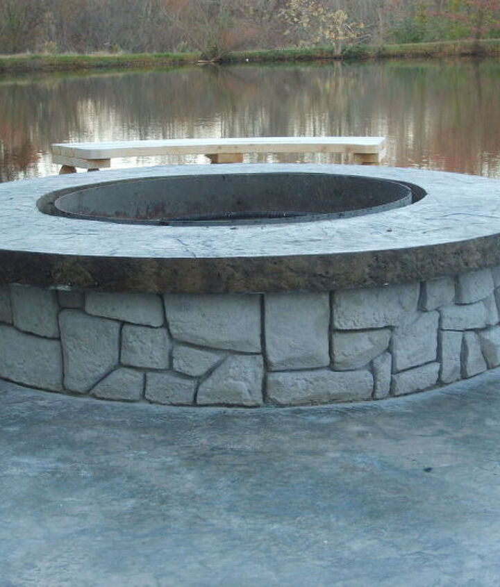 s 15 fabulous fire pits for your backyard, Concrete with stonework