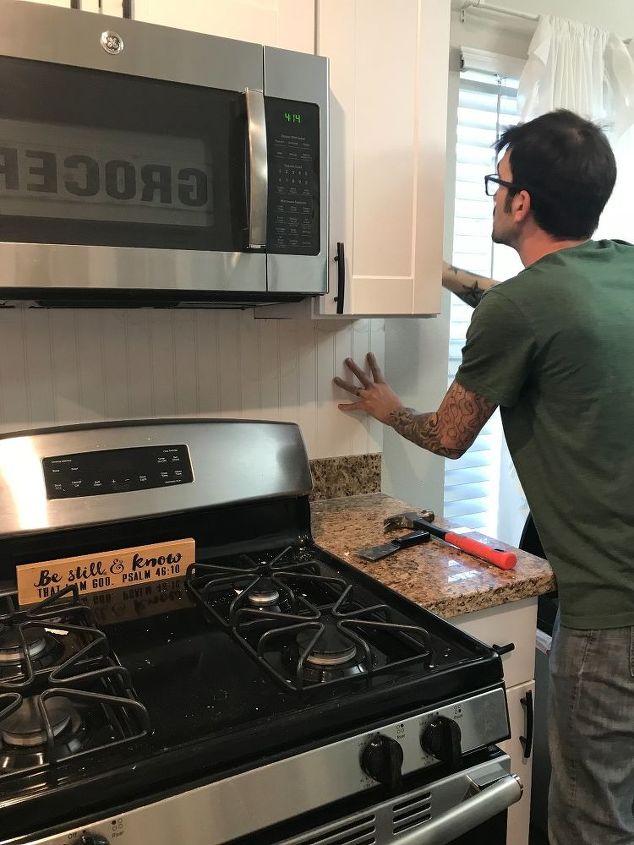 installing beadboard as backsplash and kitchen makeover for 100