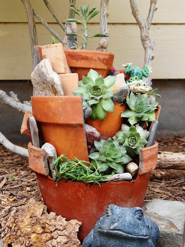s check out these adorable container garden ideas to copy this spring, Broken Pot Garden