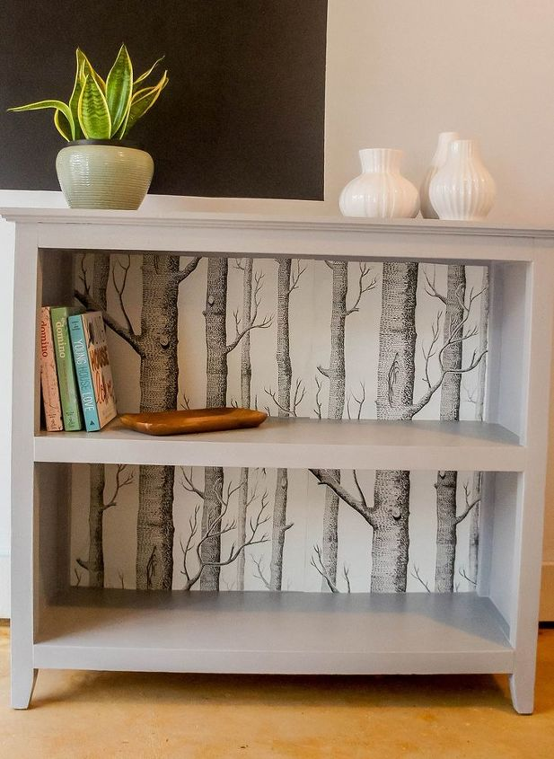 update a bookcase with wallpaper