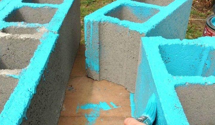 outdoor cinderblock wet bar gardening station