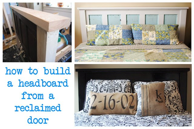 how to build a headboard from an old reclaimed door