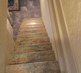 Bon Q Any Ideas On What To Do With Old Linoleum Stair Leading To Basement