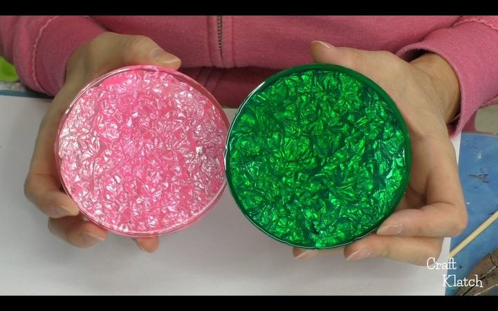 diy foil and resin coasters