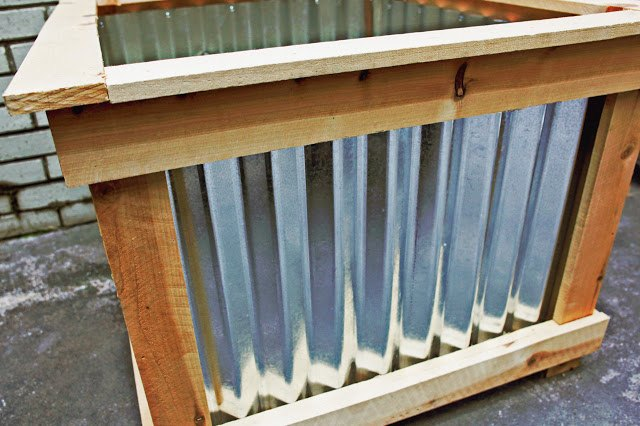 diy cedar galvanized roofing deck box hometalk