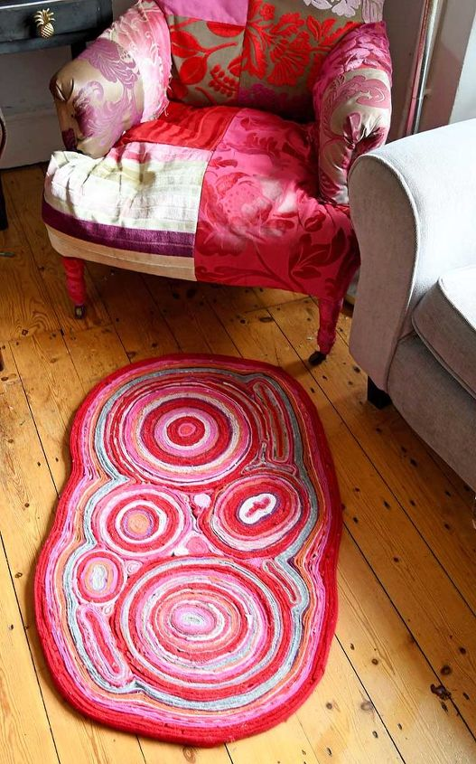 gorgeous colorful soft rug from old sweaters