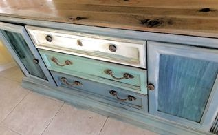 spit and planks 80 s buffet turned coastal console, Beautiful Coastal Console table