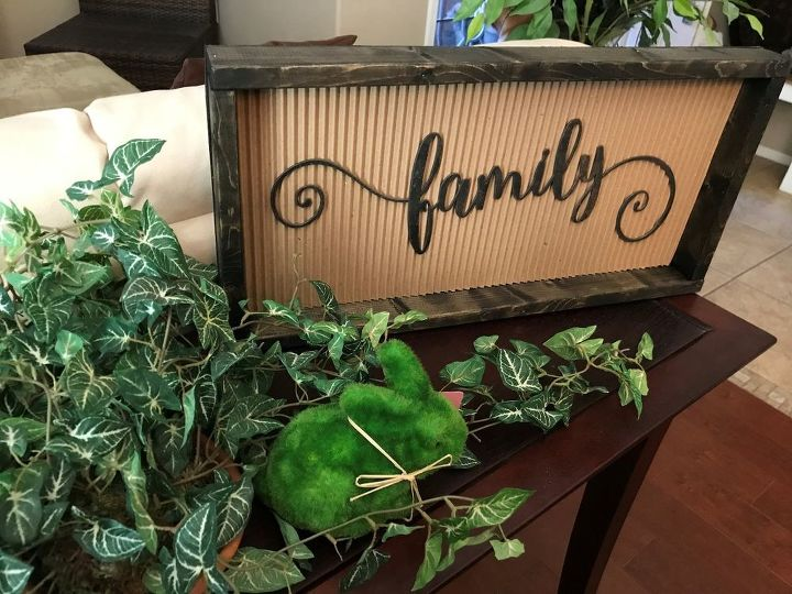 metal wood and corrugated paper family sign