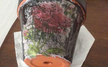 diy crackle painting a terracotta pot