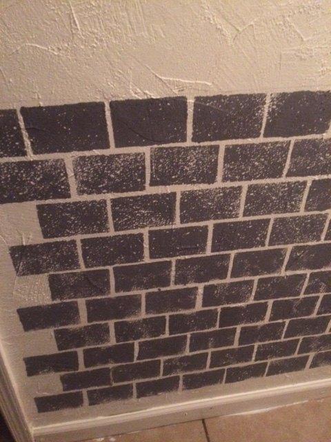 i painted bricks on the hallway walls