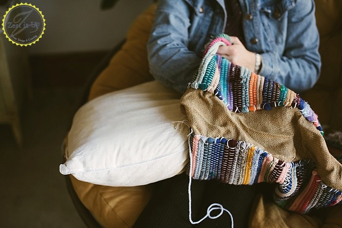 diy boho floor pillow using dollar store rugs