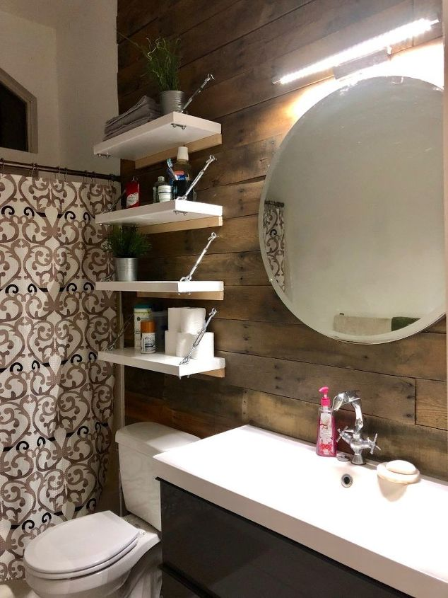 s the top 15 home improvement diy ideas this month, Pallet Bathroom Wall