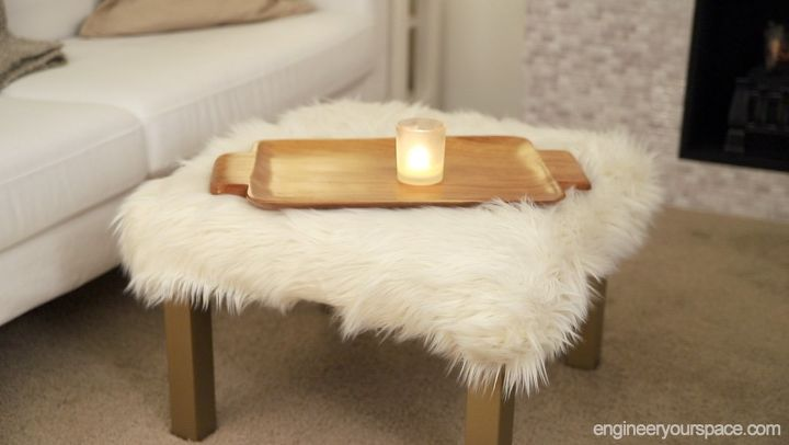 s the top 15 home improvement diy ideas this month, Furry Ottoman Ikea Hack