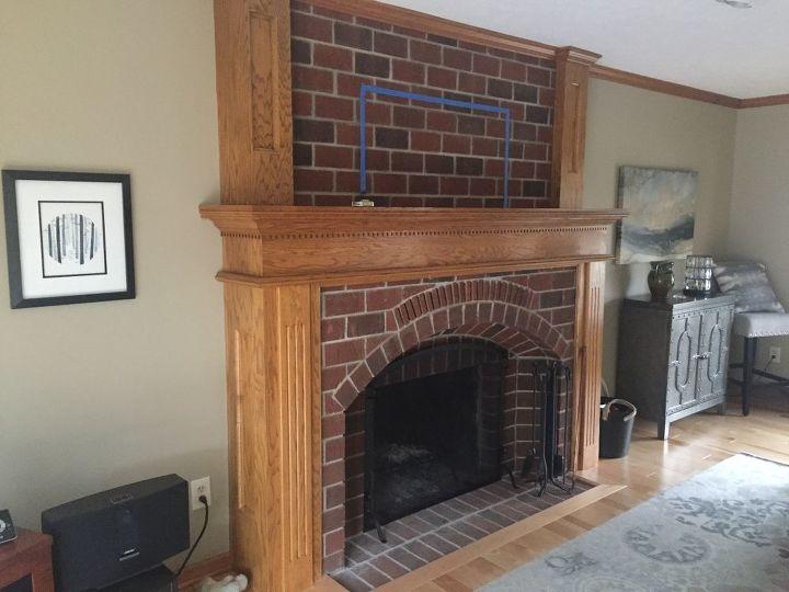 q updating living room fireplace too big