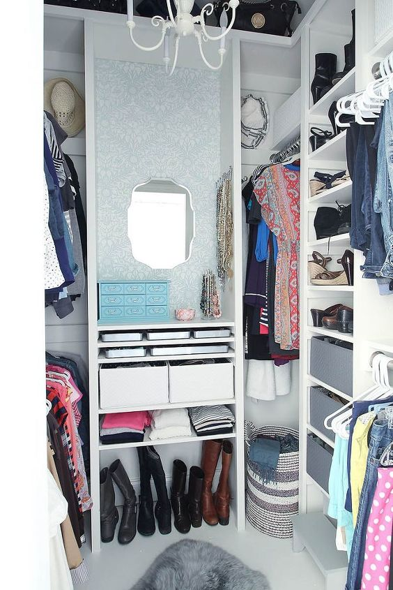 s top 12 ways to organize your bedroom closet, Small Walk in Goes Dressing Room Chic
