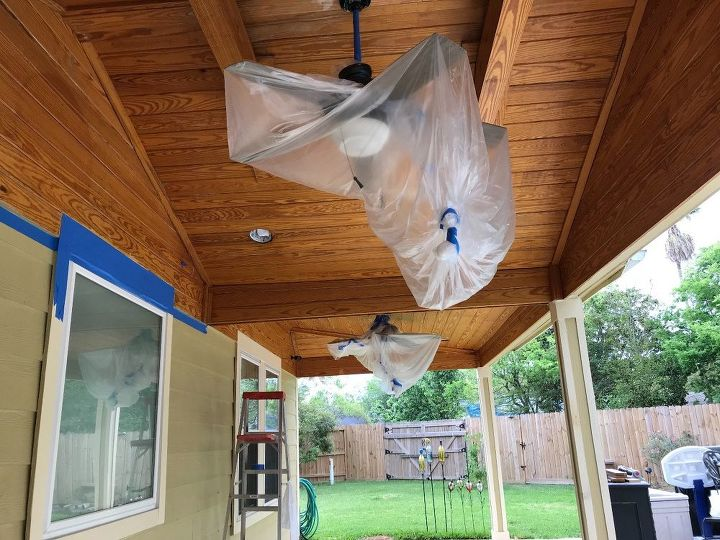 Covered ceiling fans and house