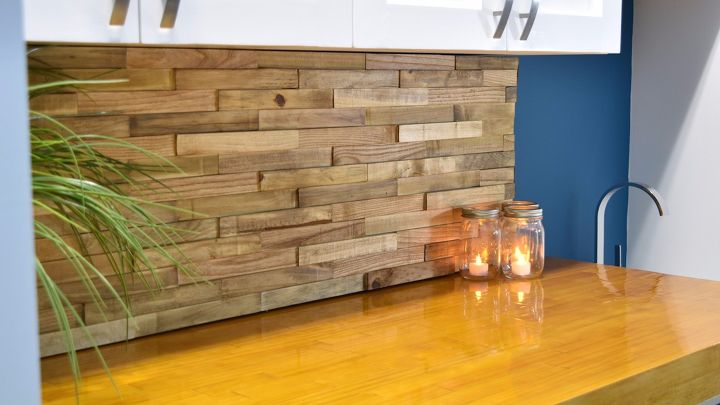 s 15 totally doable makeover ideas you can finish in one day, Update your backsplash with reclaimed pallets