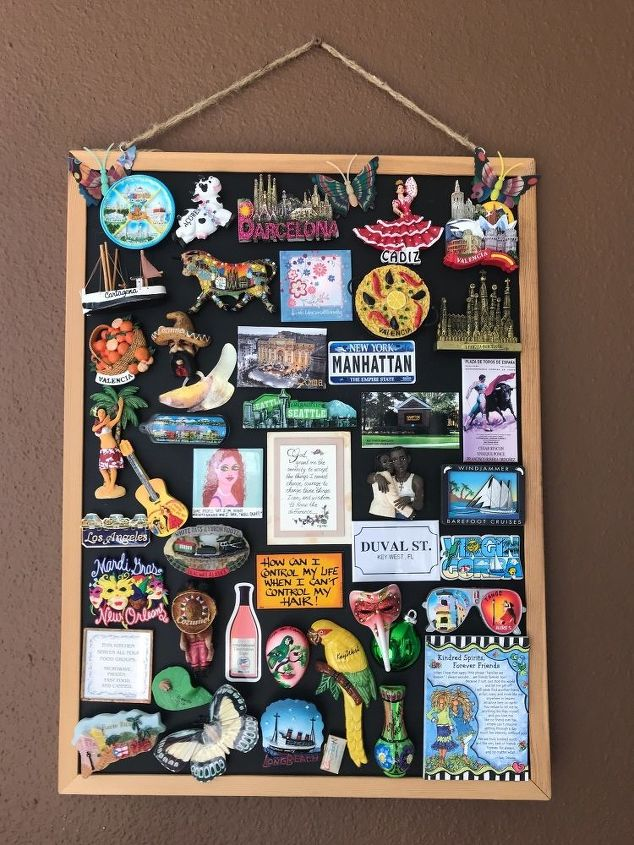 q how to make a magnetic picture board to display travel magnets