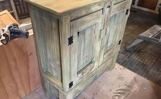 cute little cabinet becomes a rustic gem, Lots of texture