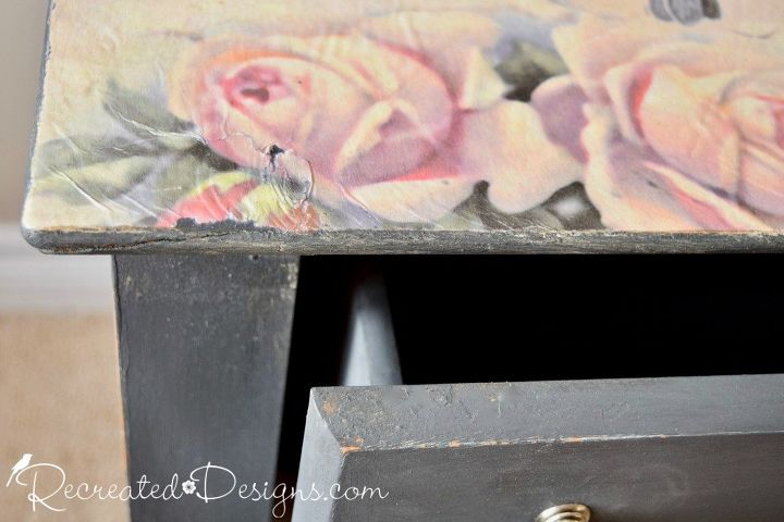 use mod podge to transform your most boring piece of furniture