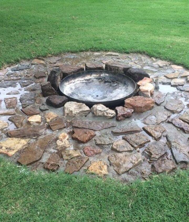 flagstone firepit for the backyard