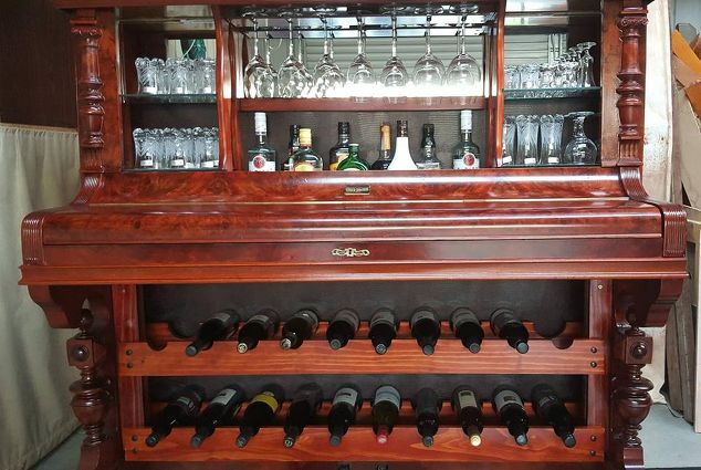 how to repurpose a piano into a bar drinks cabinet
