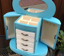 turquoise and white jewelry cabinet makeover