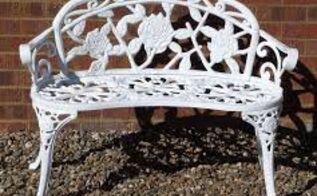 q white metal outdoor seat