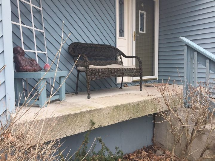 q need update ideas for poured concrete patio steps