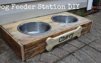 pallet board dog feeder