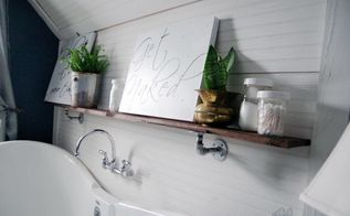 shelf in my master bathroom using galvanized pipe hardware