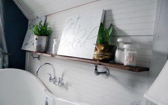 shelf in my master bathroom using galvanized pipe hardware