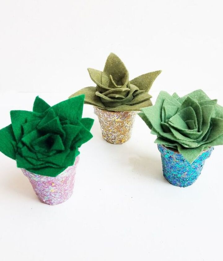 rolled felt cacti in a glitter pot